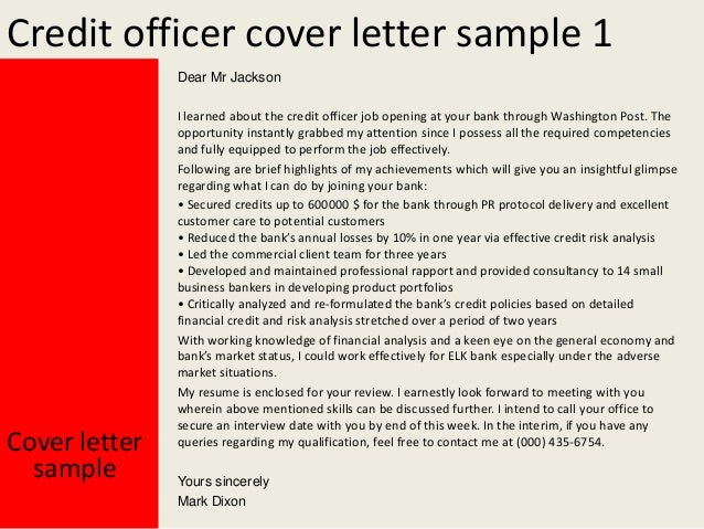 credit officer cover letter