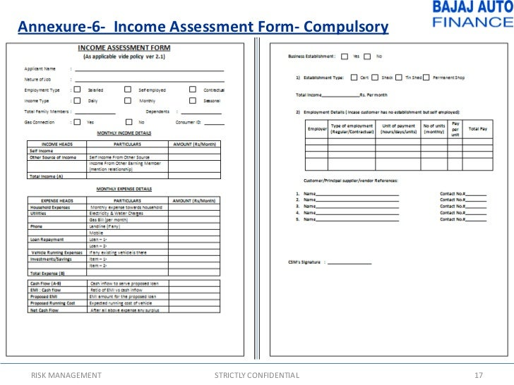 Wonderful ... STRICTLY CONFIDENTIAL 16; 17. Annexure 6  Income Assessment Form  ...  Income Assessment Form