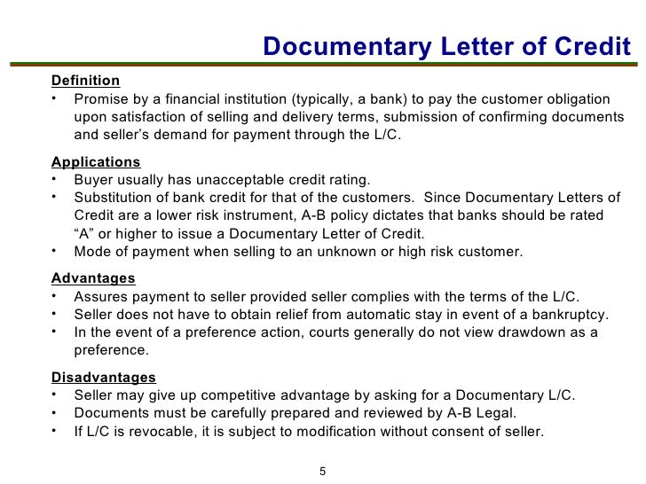 6 Documentary Letter Of Credit