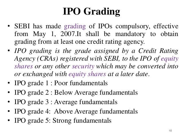 ipo grading An ipo is when a company which is presently not listed at any stock exchange makes either a fresh issue of shares or makes an offer for sale of its existing sha.