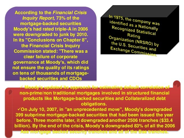 moody s credit ratings and the subprime mortgage meltdown Washington - ratings agency moody's has agreed to pay nearly $864 million in a settlement with the us authorities over its inflated ratings of risky mortgage.
