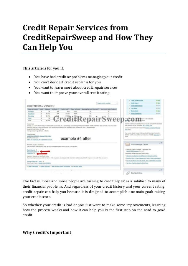 Credit Repair Services From Creditrepairsweep