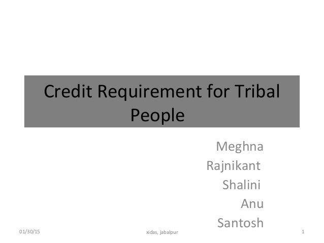 Credit Requirement for Tribal People Meghna Rajnikant Shalini Anu Santosh01/30/15 1xidas, jabalpur