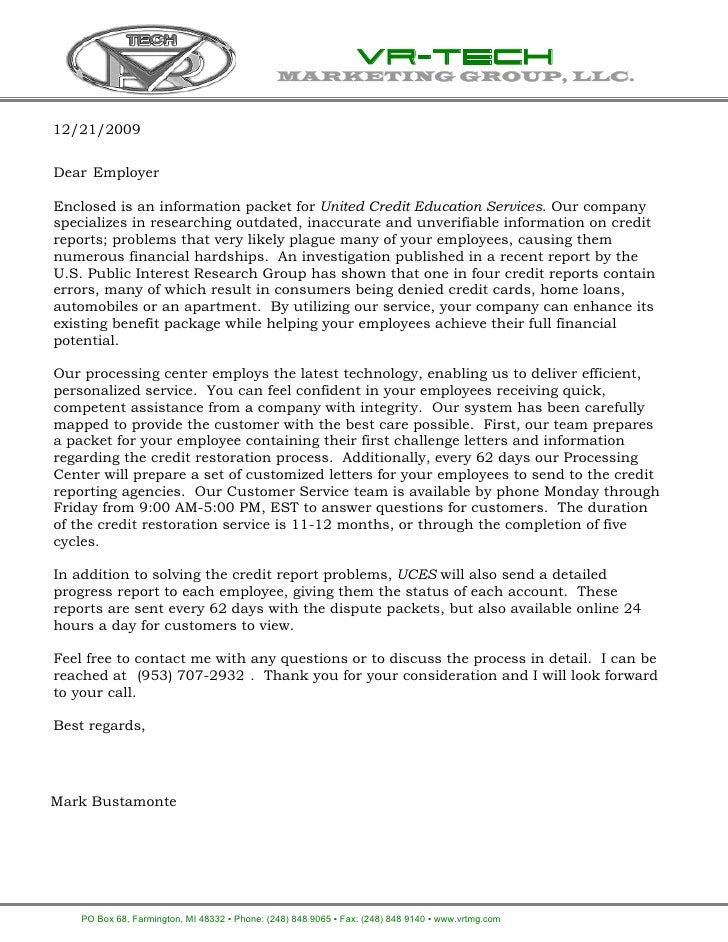 VR-TECH                                             MARKETING GROUP, LLC.   12/21/2009   Dear Employer  Enclosed is an inf...