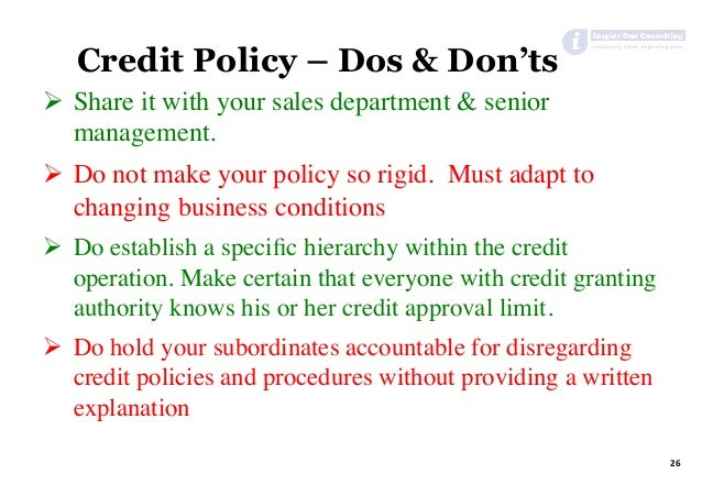 credit policy and credit risk management Performing user validations and informing credit risk management of impending amendments data completeness and accuracy are also the charge of credit risk reporting and is completed through a series of reconciliations with financial.