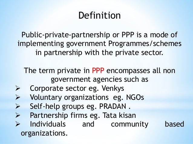 the role of public private partnership Want to learn more about public-private partnerships here is a list of must-reads on the topic photo by: horia varlan / cc by there is plenty of talk about public-private partnerships, but in all of that, it's possible to lose track of what they are and what role they can play in how foreign.
