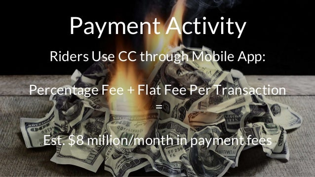 Payment Activity Riders Use CC through Mobile App: Percentage Fee + Flat Fee Per Transaction = Est. $8 million/month in pa...