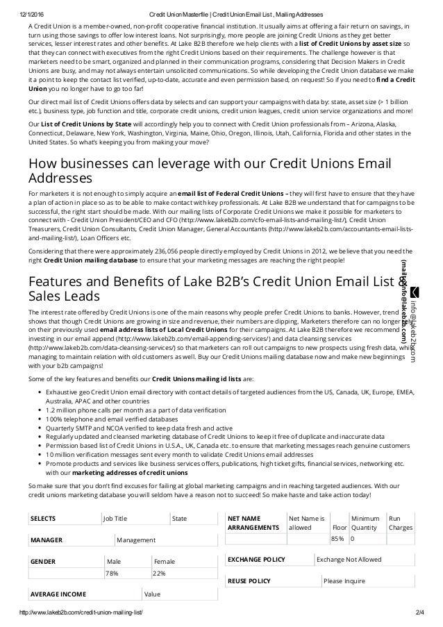 Credit Union Email Address List