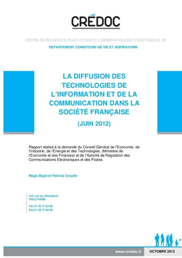 DEPARTEMENT CONDITIONS DE VIE ET ASPIRATIONS                    LA DIFFUSION DES                    TECHNOLOGIES DE       ...