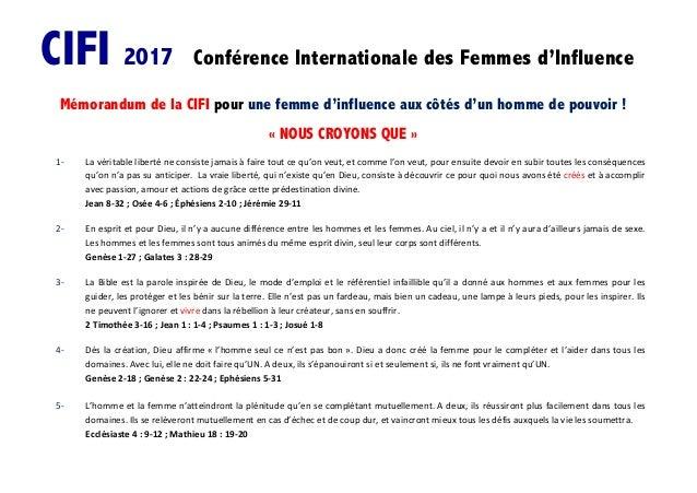 CIFI 2017 Conférence Internationale des Femmes d'Influence Mémorandum de la CIFI pour une femme d'influence aux côtés d'un...