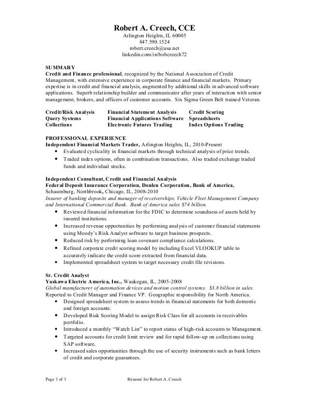 robert a creech - Junior Financial Analyst Resume