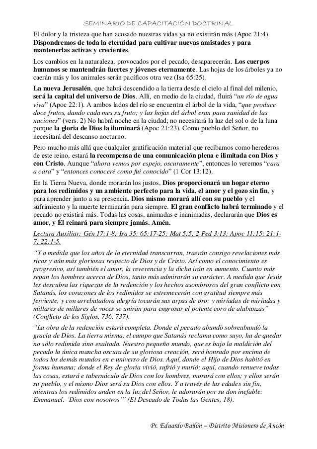 SEMINARIO DE CAPACITACIÓN DOCTRINAL Pr. Eduardo Bailón – Distrito Misionero de Ancón El dolor y la tristeza que han acosad...