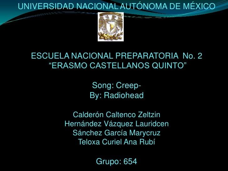 """UNIVERSIDAD NACIONAL AUTÓNOMA DE MÉXICO<br />ESCUELA NACIONAL PREPARATORIA  No. 2<br /> """"ERASMO CASTELLANOS QUINTO""""<br />S..."""