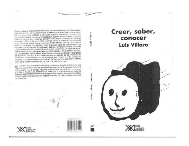 Lectura: Creer saber, conocer (villoro,2009)