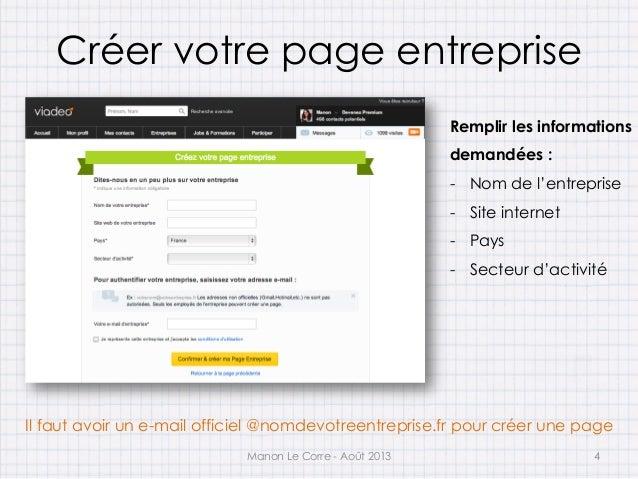 Cr er une page entreprise sur viadeo for Creer une entreprise innovante