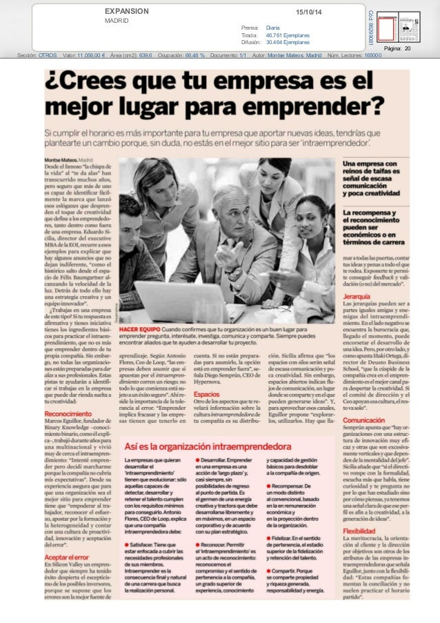 EXPANSION 15/10/14  MADRID  Prensa: Diaria  Tirada: 46.761 Ejemplares  Difusión: 30.464 Ejemplares  Página: 20  Cód: 86299...