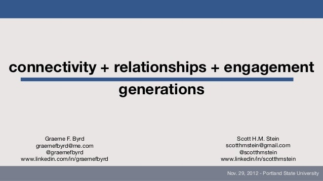 connectivity + relationships + engagement                generations         Graeme F. Byrd                  Scott H.M. St...