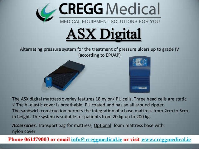Alternating pressure system for the treatment of pressure ulcers up to grade IV (according to EPUAP)  The ASX digital matt...