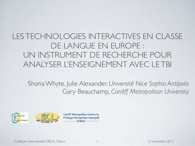 LES TECHNOLOGIES INTERACTIVES EN CLASSE DE LANGUE EN EUROPE : UN INSTRUMENT DE RECHERCHE POUR ANALYSER L'ENSEIGNEMENT AVEC...