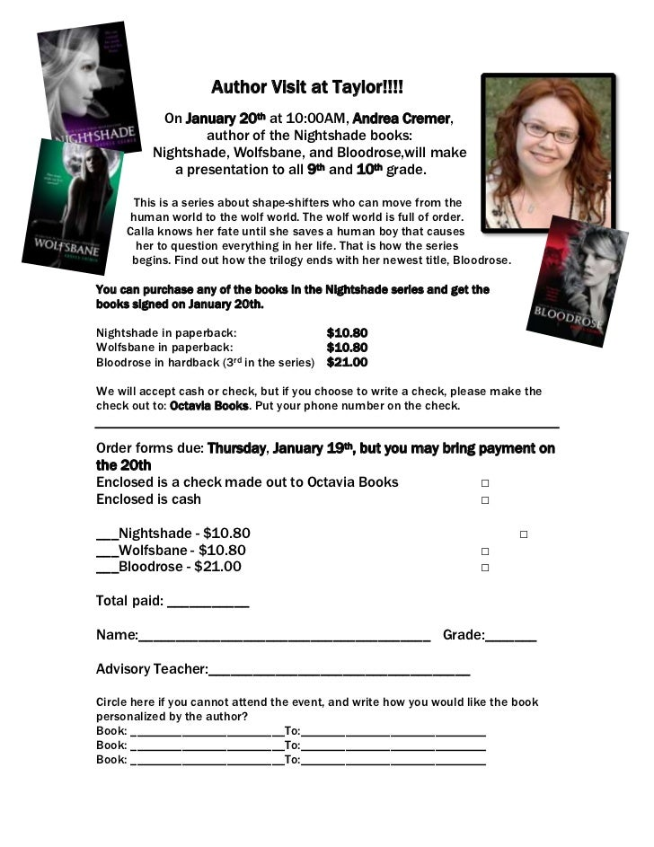 Author Visit at Taylor!!!!            On January 20th at 10:00AM, Andrea Cremer,                  author of the Nightshade...