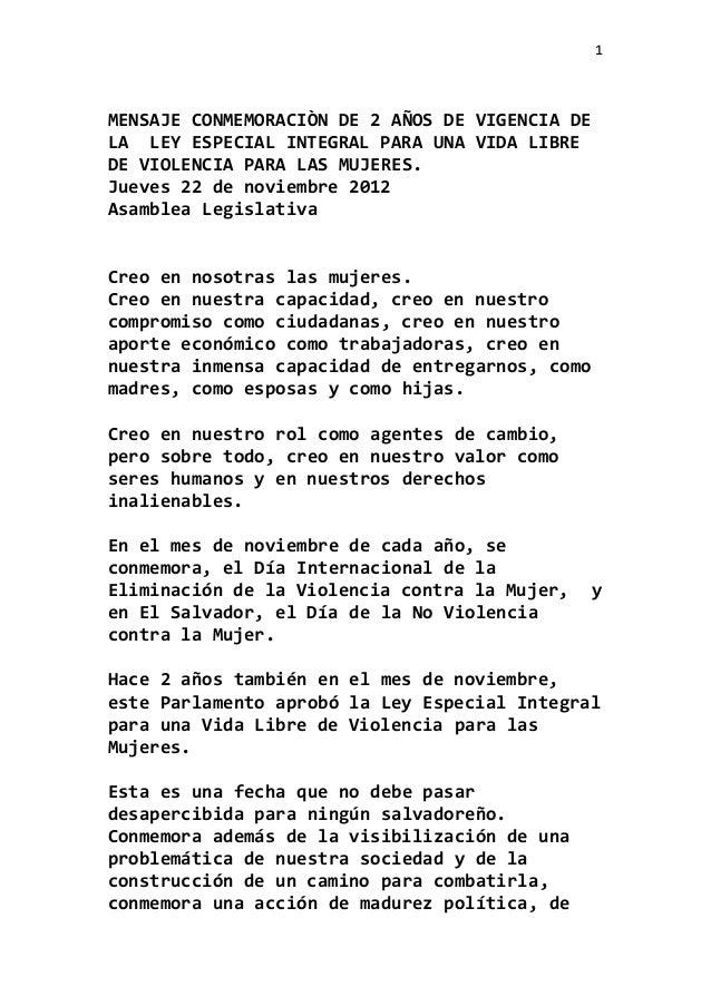 1MENSAJE CONMEMORACIÒN DE 2 AÑOS DE VIGENCIA DELA LEY ESPECIAL INTEGRAL PARA UNA VIDA LIBREDE VIOLENCIA PARA LAS MUJERES.J...