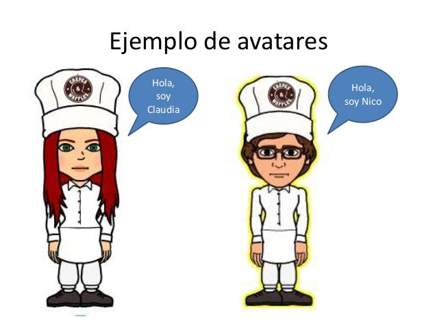 Ejemplo de avatares  Hola,  soy  Claudia  Hola,  soy Nico