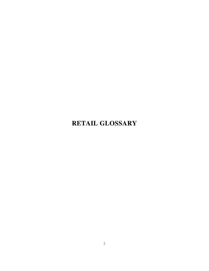RETAIL GLOSSARY       1