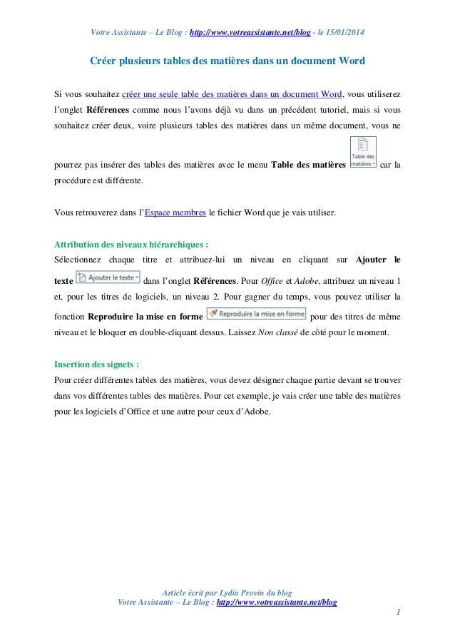 Votre Assistante – Le Blog : http://www.votreassistante.net/blog - le 15/01/2014  Créer plusieurs tables des matières dans...