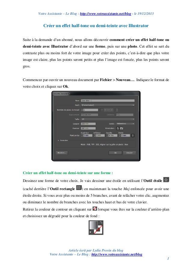 Votre Assistante – Le Blog : http://www.votreassistante.net/blog - le 19/12/2013  Créer un effet half-tone ou demi-teinte ...