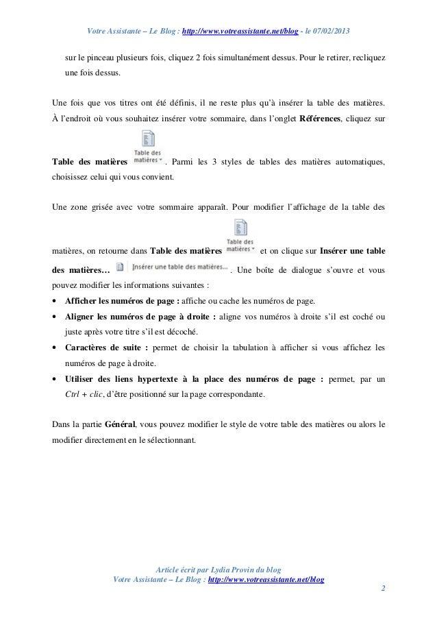 Creer Une Table Des Matieres Automatique Sous Word