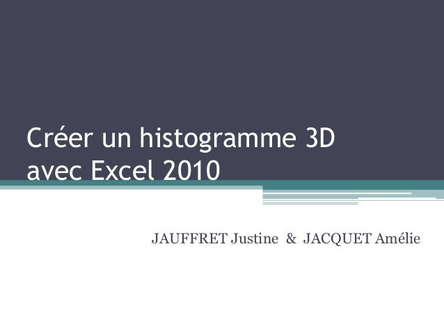 Créer un histogramme 3D avec Excel 2010 JAUFFRET Justine & JACQUET Amélie