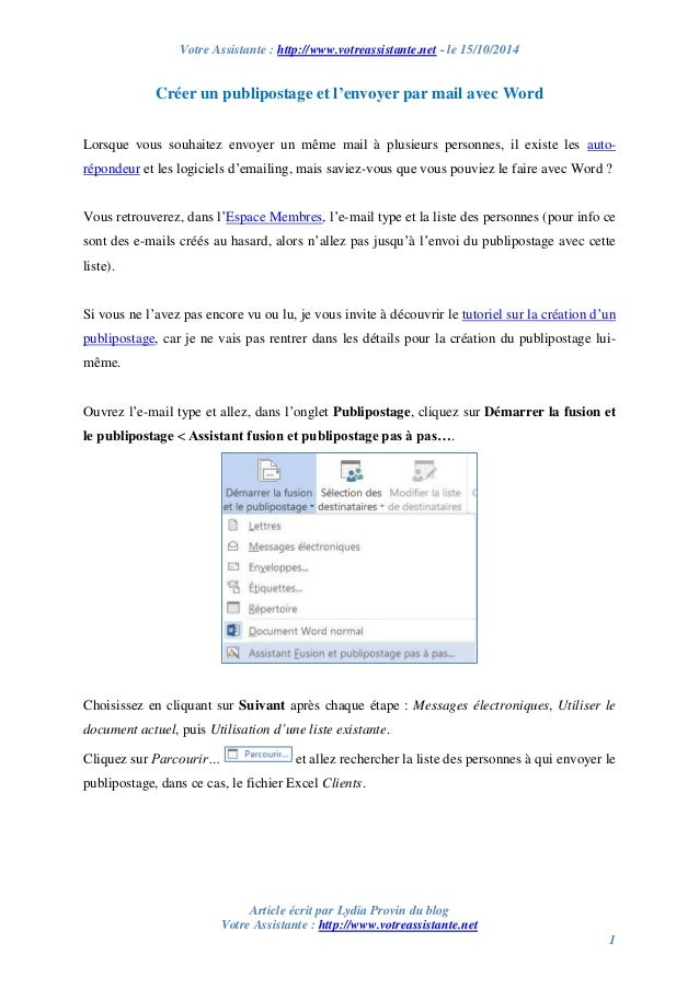 Votre Assistante : http://www.votreassistante.net - le 15/10/2014  Article écrit par Lydia Provin du blog  Votre Assistant...
