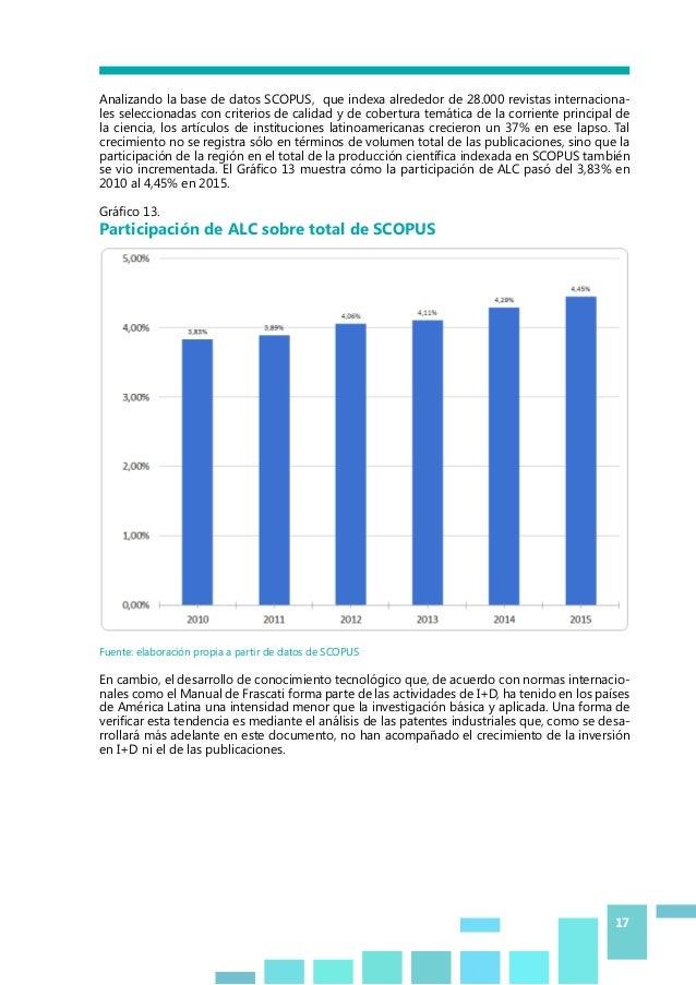 17 Analizando la base de datos SCOPUS, que indexa alrededor de 28.000 revistas internaciona- les seleccionadas con criteri...