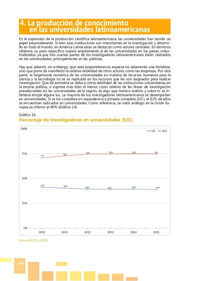 18 4. La producción de conocimiento  en las universidades latinoamericanas En la expansión de la producción científica la...