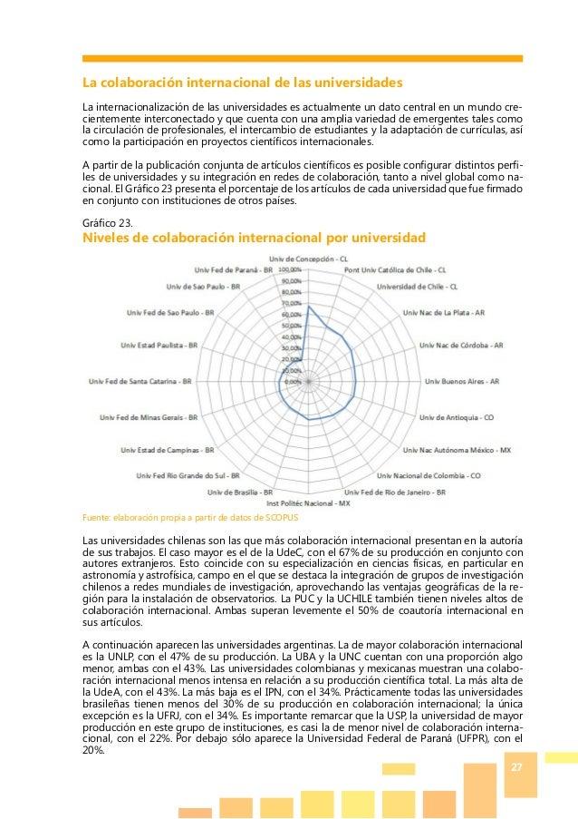 27 La colaboración internacional de las universidades La internacionalización de las universidades es actualmente un dato ...