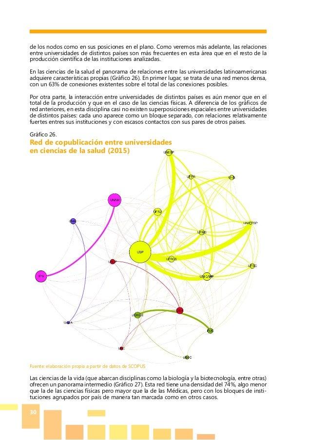 30 de los nodos como en sus posiciones en el plano. Como veremos más adelante, las relaciones entre universidades de disti...