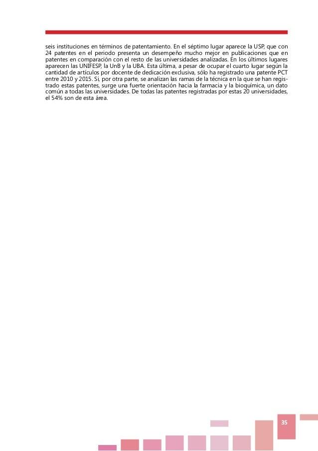 35 seis instituciones en términos de patentamiento. En el séptimo lugar aparece la USP, que con 24 patentes en el periodo ...