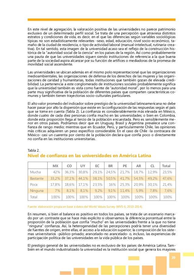 39 En este nivel de agregación, la valoración positiva de las universidades no parece patrimonio exclusivo de un determina...