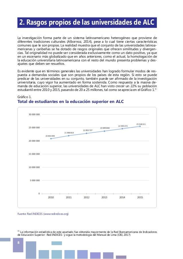 8  2. Rasgos propios de las universidades de ALC La investigación forma parte de un sistema latinoamericano heterogéneo q...