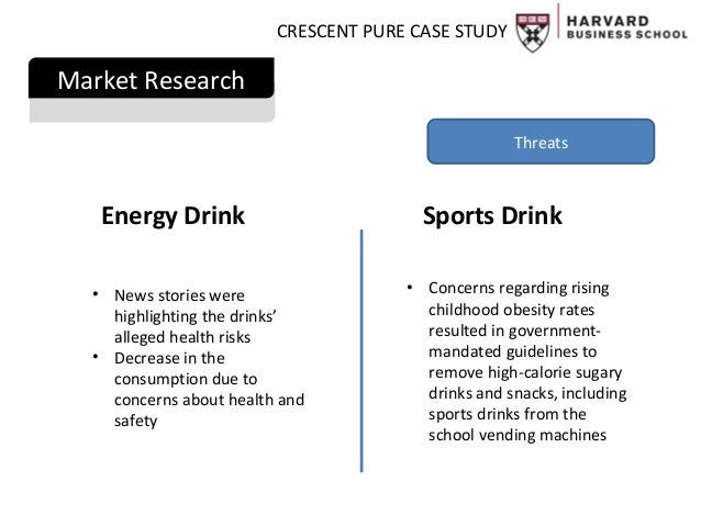 case study crescent pure Before launching crescent it is essential to make sure that there is a place for crescent in the market sarah ryan, vice president of marketing for pdb, is doing this by trying to specify whether crescent fits in the market better as an energy drink, a sport drink or a healthy organic beverage.
