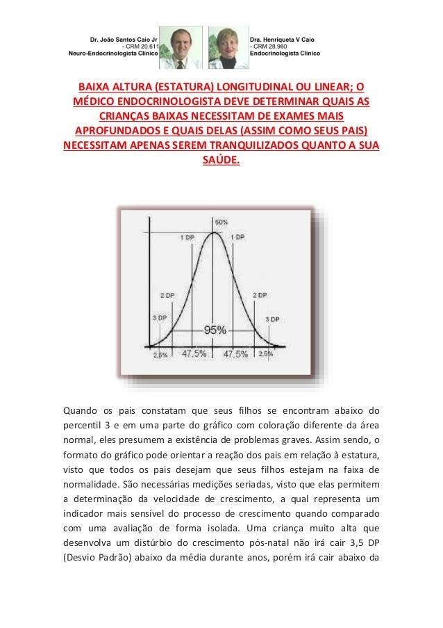 BAIXA ALTURA (ESTATURA) LONGITUDINAL OU LINEAR; O MÉDICO ENDOCRINOLOGISTA DEVE DETERMINAR QUAIS AS CRIANÇAS BAIXAS NECESSI...