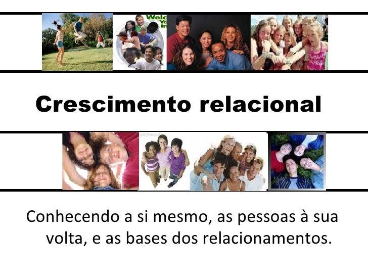 Crescimento relacional <ul><li>Conhecendo a si mesmo, as pessoas à sua volta, e as bases dos relacionamentos. </li></ul>