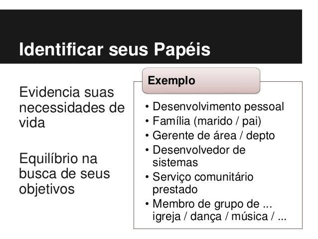 • Desenvolvimento pessoal • Família (marido / pai) • Gerente de área / depto • Desenvolvedor de sistemas • Serviço comunit...