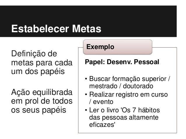 Papel: Desenv. Pessoal • Buscar formação superior / mestrado / doutorado • Realizar registro em curso / evento • Ler o liv...
