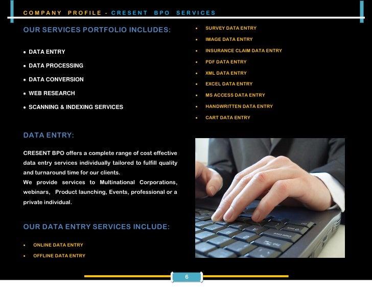 sample bpo company profile format