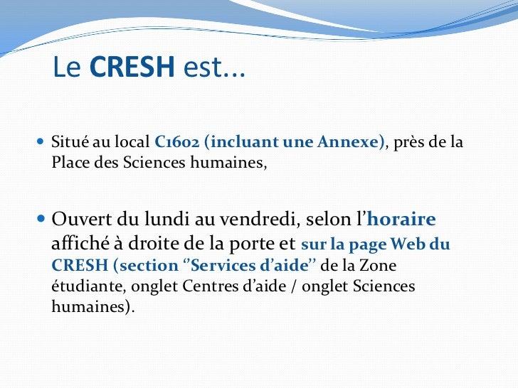 CRESH -Présentation en boucle (version 28 janvier 2012) Slide 2