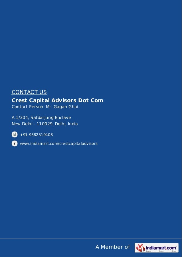 Crest Capital Advisors Dot Com, New Delhi, Valuation Support Services