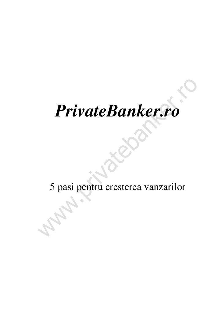 PrivateBanker.ro5 pasi pentru cresterea vanzarilor