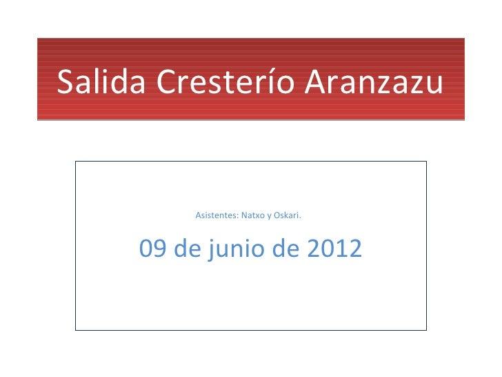 Salida Cresterío Aranzazu         Asistentes: Natxo y Oskari.     09 de junio de 2012