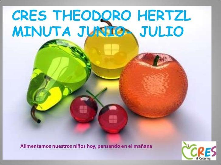 CRES THEODORO HERTZL  MINUTA JUNIO- JULIO<br />Cres Cedros<br />Alimentamos nuestros niños hoy, pensando en el mañana<br />